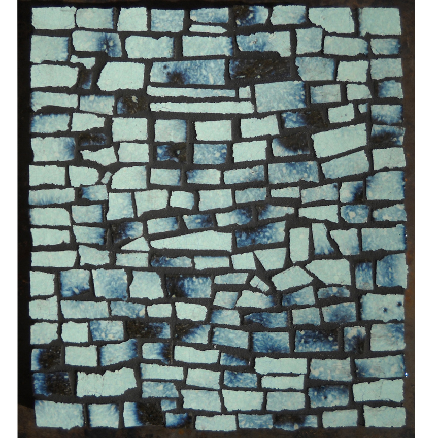 BLUE RHYTHMIC WAVE 2:2 - Enamelled Lava Stone on Wood – cm 19,5x22x3,5